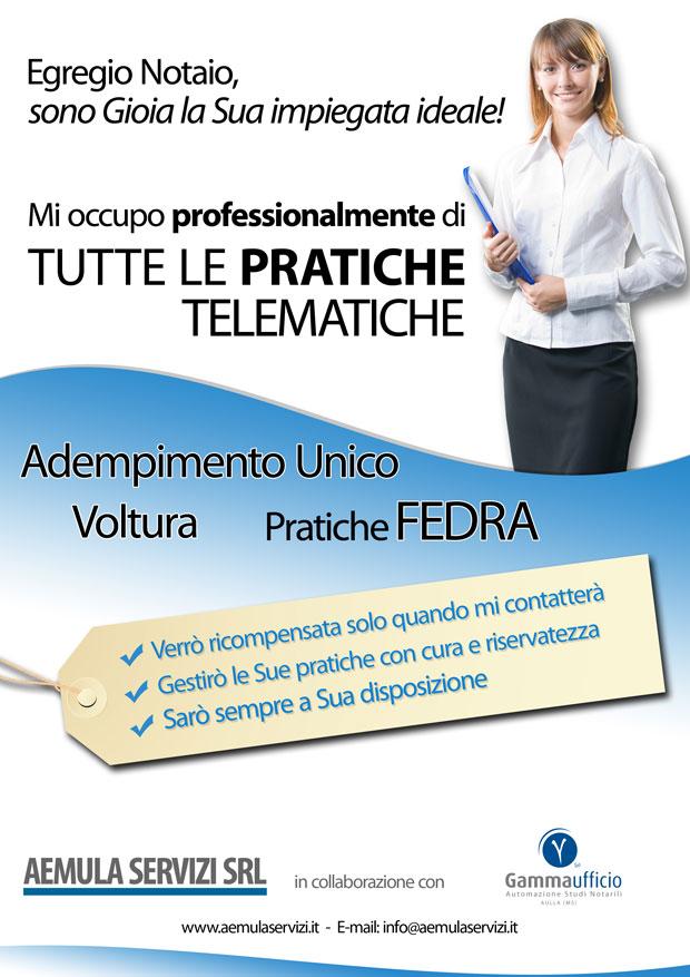 Pratiche Telematiche , Adempimento Unico, Servizio Gioia in collaborazione con AEMULA SERVIZI SRL