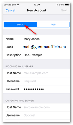 6 Configurazione Mail iphone Imap