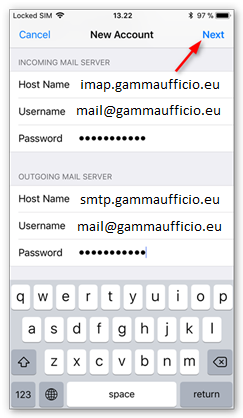 7 Configurazione Mail iphone Imap